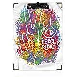 Portapapeles para decoración de fiestas de los años 70, diseño de paz, amor, pacifismo, para estudiantes de enfermería y trabajador de oficina para papel tamaño carta