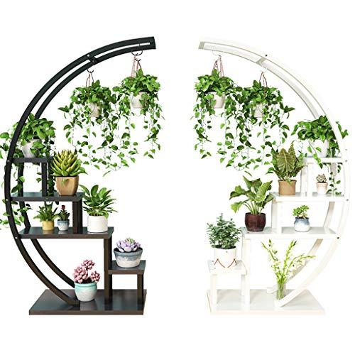 GYX-Pflanzenregale Multi-Tier Metal Plant Storage Stand Blumentopf Rack Halter Regal Geeignet für Innen-und Außenbereich (Weiß, Schwarz)