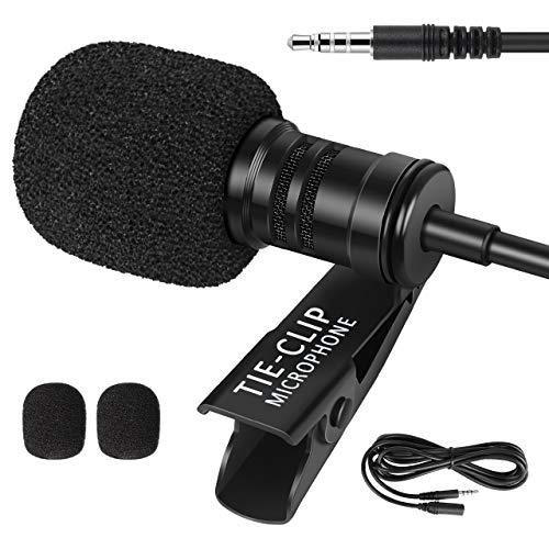 InnoGear Ansteckmikrofon mit 2 m langem Verlängerungskabel und 4 auf 3 Pin Adapter 3,5 mm Omnidirektionales Lavalier-Mikrofon für iPhone Android Smartphone