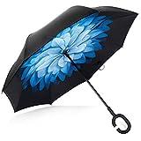 Deerbird® Voiture Inversé Parapluie Double couche Anti-ultraviolet Ceinture Poignée en caoutchouc de Type C Résistant au vent Parapluies, Tous Temps Autonome Défaut Parapluie - Fleur Bleue