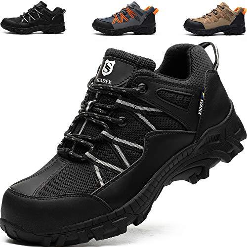 SUADEEX Zapatos de Seguridad Hombre, Zapatos de Trabajo Hombres, Puntera de Acero Ligeros y Transpirables Zapatillas de Seguridad, Negro-41EU