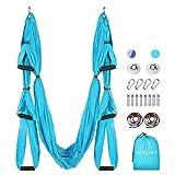 Oudort - Juego de columpio para yoga, hamaca voladora, herramienta de inversión con 2 correas de extensión para gimnasio en casa, accesorios de montaje incluidos, azul