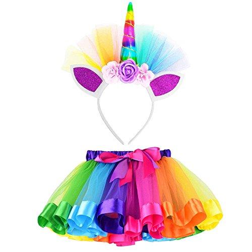 Cinnamou Conjuntos de Unicornio Niña Falda Tutu Princesa Flor Navidad Disfraz de Cosplay Conjunto con Diadema para Fiesta Ceremonia Carnaval Bautizo Cumpleaños Comunión Boda 4-10Años