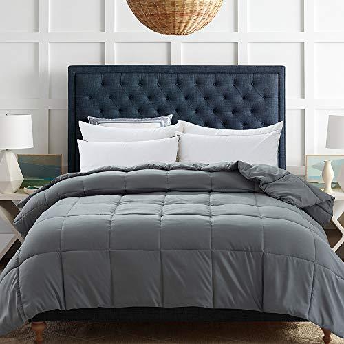 Decroom Lightweight Grey Down Alternative Comforter for Bed,Hypoallergenic Quilted Duvet Insert, Fluffy Blanket for All Season, King Size