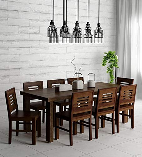 Corazzin Wood Lakewood Sheesham Wood Dining Table 8 Seater | Wooden Dining Room Furniture | 8 Chairs and Table | Brown Finish