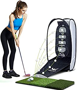 Selling points: This golf practice net can practice your chipping skills at home. You can practice different chips according to the height of the bullseye and different distances to practice different parabolic balls: lob, pitch, chip, running. This ...