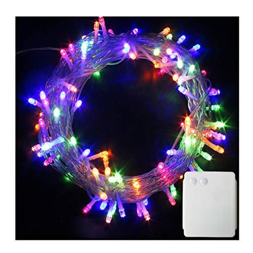 100-500 LED Batterie Lichterkette Kette Batteriebetrieben Leuchte Beleuchtung für Weihnachtsbaum, Garten, Party Innen und Außen Dekoration(Bunt, 200 LEDs)
