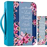 """Bible Cover Case for Women with Matched Bookmark Floral PU Leather Bible Cover Bag with Pockets and Zipper for Standard and Large Size Study Bible 11""""x8.2""""x2.2"""" (Navy Floral)"""