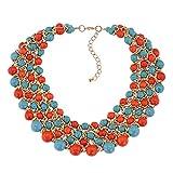 Yazilind Collier pour Femmes Turquoise Aluminium Chaîne Extension Collier Bijoux Rétro Accessoires...