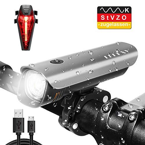LEBEXY Fahrradlicht LED Fahrradbeleuchtung | Frontlicht & Rücklichter Set | StVZO Zugelassen Wasserdicht Fahrradlampe