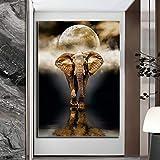 wojinbao Resumen de Lienzo de Arte de paredCartel Abstracto de Modernos Carteles e Impresiones de Elefantes de Animales Cuadros para Cuadros de decoración del hogar Carteles de Arte de Pared