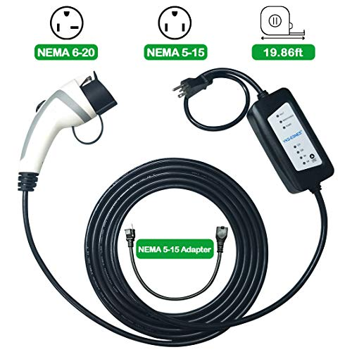 Desconocido Level 2 Portable EV Charger (SAE J1772, 240 Volt, 19.8 Feet Cable, 6-16 Amp), Electric Vehicle Charger Plug-in EV Charging Station with NEMA 6-20 Plug