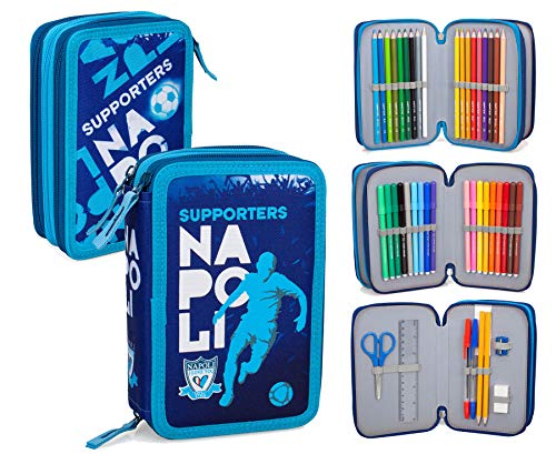 I Love You Napoli ILYN134 Astuccio Triplo Riempito, 44 Accessori Scuola, 20 Centimetri, Multicolore
