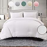 Seersucker Queen Comforter Set 3 PCs, All Season Reversible Down Alternative Quilted Duvet Insert, Hypoallergenic Microfiber Filling, Luxury Hotel Quality Bedding Sets in a Bag, Size 90 inch, White