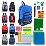 17 Inch Wholesale Backpacks with 39 Piece School Supply Kits in 4 Assorted Styles - Bulk Case of 12 Pack Bundles
