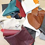 Lederreste Bastelleder Lederstücke 1 Kg bunt, farblich gemischt, alle Stücke Mind. DIN A5 und größer, Zum Basteln und Nähen