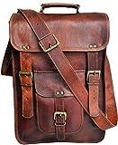 Jaald 15' leather messenger bag laptop case office briefcase gift for men computer distressed shoulder bag