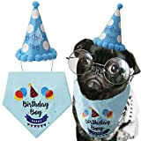 LUTER Dog Birthday Bandana Triangle Scarfs with Cute Doggie Birthday Party Hat for Gift Happy Birthday Boy Print for Dog or Puppy Birthday Decor