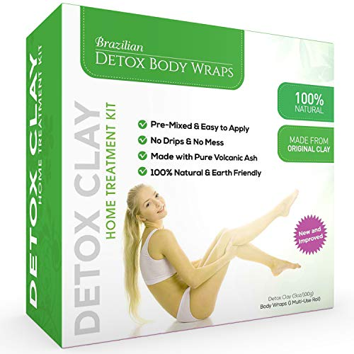 Brazilian Detox Clay Body Wraps (10-Applications) Slimming Home Spa Treatment for Cellulite, Weight Loss, Stretch Marks | Natural, Purifying Detoxifier for Smooth, Toned Skin (10 Applications) 1