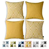 HPUK Decorative Throw Pillow Covers Set of 4 Geometric Design Linen...