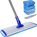 18' Professional Microfiber Mop Floor Cleaning System, Flat Mop with Stainless Steel Handle, 4 Reusable Washable Mop Pads, Wet and Dust Mopping for Hardwood, Vinyl, Laminate, Tile Cleaning