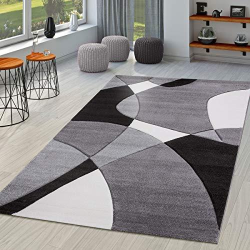Tappeto Moderno per Soggiorno Astratto Taglio Sagomato in Nero Grigio Bianco, Gre:60x110 cm