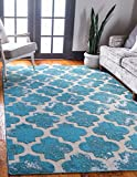 Unique Loom Outdoor Trellis Collection Vintage Geometric Transitional Indoor and Outdoor Flatweave Turquoise  Area Rug (5' 0 x 8' 0)