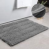 CIICOOL Thick Chenille Bathroom Rugs Non Slip Bath Rugs Super Absorbent Bathroom Mat Machine Washable Bath Mats for Bathroom,Tub, Shower, 17 x 24 Inches, Grey