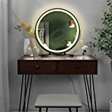 Vanity Set with Lighted Mirror, 3-Color Touch Screen Dimmable Mirror, Additional Storage Organizer, Sturdy Steel Legs, Bedroom Makeup Dressing Table with Cushioned Stool (Brown)