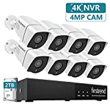 PoE Security Camera System,Firstrend 5MP 8CH NVR with 2TB Hard Drive and 8PCS 4MP P2P Indoor Outdoor Video Camera System 65FT Night Vision Free APP