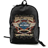 N / A Harley Davidson - Mochila clásica para escuela, color negro