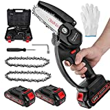 Mini Chainsaw Cordless, 4 inch Portable Battery Powered Chain Saws with Safety Lock, One-Hand Handheld Electric Small Chainsaw for Gardening Tree Branch Wood Cutting(2 batteries and 2 chains)