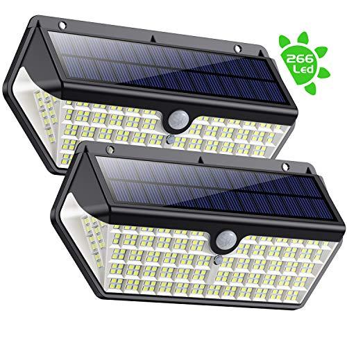 SWEYE Luce Solare Led Esterno 266LED,Nuova Versione-Super Iuminosa 2500lm/2200mAhLampada Solare Impermeabile IP65 Luci Solari con Sensore di Movimento Lampade Solari da Giardino 3 Modalit-2 Pezzi