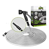 Stainless Steel Metal Garden Hose - 75FT with 2 Nozzles, Lightweight, Heavy Duty, High Pressure, Flexible, Tangle Free & Kink Free Cool to Touch, Outdoor Yard Hose