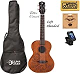 Luna Mahogany Tattoo Concert Ukulele LEFTY w/Strings,Tuner & CP, UKE TC MAH L COMP