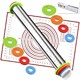 Rolling Pin nonstick and Silicone Baking Pastry Mat combo kit, Adjustable Rolling Pin With Thickness Rings, Rolling Pin for Baking Fondant, Pizza, Pie, Pastry, Pasta, Dough, Cookies (Red baking mat)