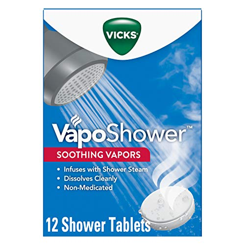 Vicks VapoShower, 12ct Shower Bomb Tablets, Soothing Vicks Vapor Steam Aromatherapy with Eucalyptus and Menthol (4 Boxes of 3 Tablets)