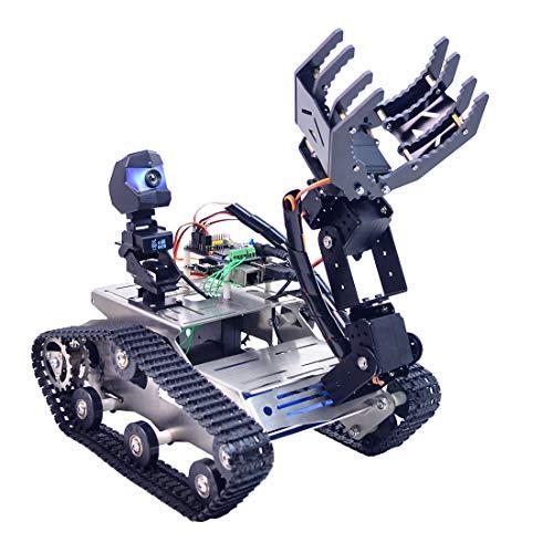 Foxom Robot Programmabile per Arduino Mega, Smart Robot Car Kit con Arm, WiFi, Modulo Bluetooth, FPV, Videocamera HD - Compatibile con Arduino / Raspberry Pi/ STMduino