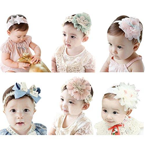 HBF 6 Pezzi di Fascia Bambina Accessori per Capelli Bambina Fascia Capelli Neonata Elastica con Fiori Tessuto Pizzo