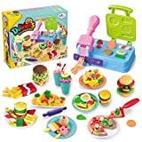 Playdough Kitchen Creations Breakfast Burger and Pasta & Pizza Inspired Cookout Creations Play Food Barbecue Toy Set Ages 3 +