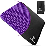 Purple Gel Seat Cushion for Long Sitting with Nonslip Cover - Egg Seat Cushion for Tailbone, Back,...