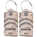 VORMOR Etiquetas para Equipaje,Tablero de espíritu parlante de Textura de Madera con Letras del Alfabeto,2 Piezas