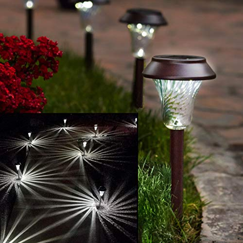 Enchanted Spaces Bronze Solar Path Light, Set of 6, with Glass Lens, Metal Ground Stake, and Extra-Bright LED for Lawn, Patio, Yard, Walkway, Driveway