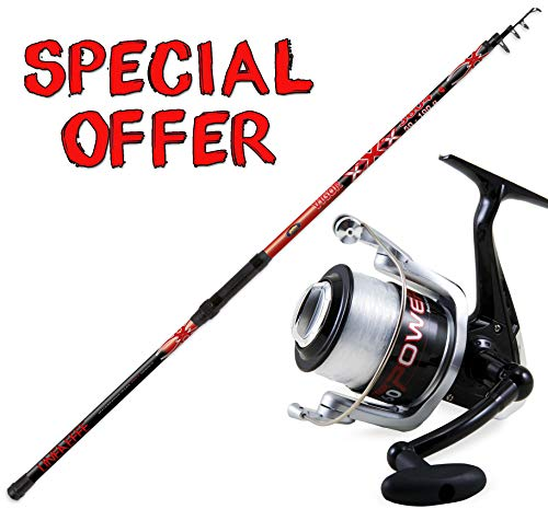 Linea-effe Kit surfcasting Super Offerta, Canna SURFCASTING XXX 420 50-100 gr + Mulinello Vigor Power 50 FD con Filo in Bobina