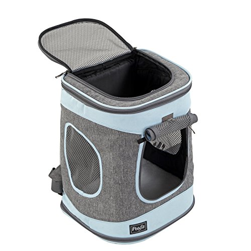 Petsfit Comfort Dogs/Cat Carrier Backpack,Hold Pets up to 15 LBS,Go for Walk, Hiking and Cycling (Grey and Blue) 17' H x13 L x11 D