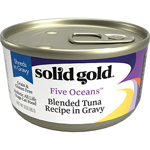 Solid Gold Shreds In Gravy Wet Cat Food; Five Oceans With Real Tuna (Formally New Moon), 24Ct/3Oz Can