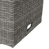 greemotion Tisch Bari, höhenverstellbarer Couchtisch, Beistelltisch aus Rattan-Geflecht mit Glas-Tischplatte, Sofatisch ca. 130 x 49/68 x 75 cm - 5