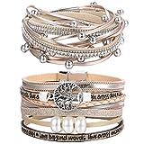 CASSIECA 2 Pcs Arbre de la Vie Bracelet Cuir pour Femmes Fille Bracelet...