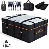 AUPERTO 19 Cubic Feet Car Rooftop Cargo Carrier Bag - Heavy Duty RoofBag with External Non-Slip Mats/Lock for All Cars with/Without Rack, Includes Carry Bag