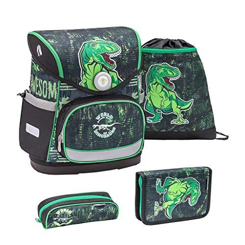 Belmil ergonomischer Schulranzen Set 4 -teilig für Jungen 1-4 Klasse Grundschule//Brustgurt/Magnetverschluss/Dinosaurier, Dinosaur, Dino/Grün, Green (405-41 World of Dinosaurs)